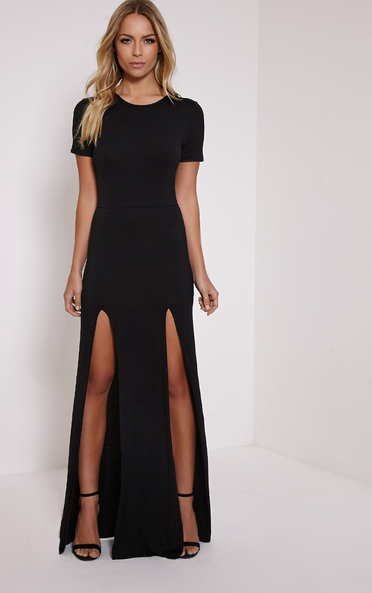 Basic Black Split Front Maxi T Shirt Dress 1