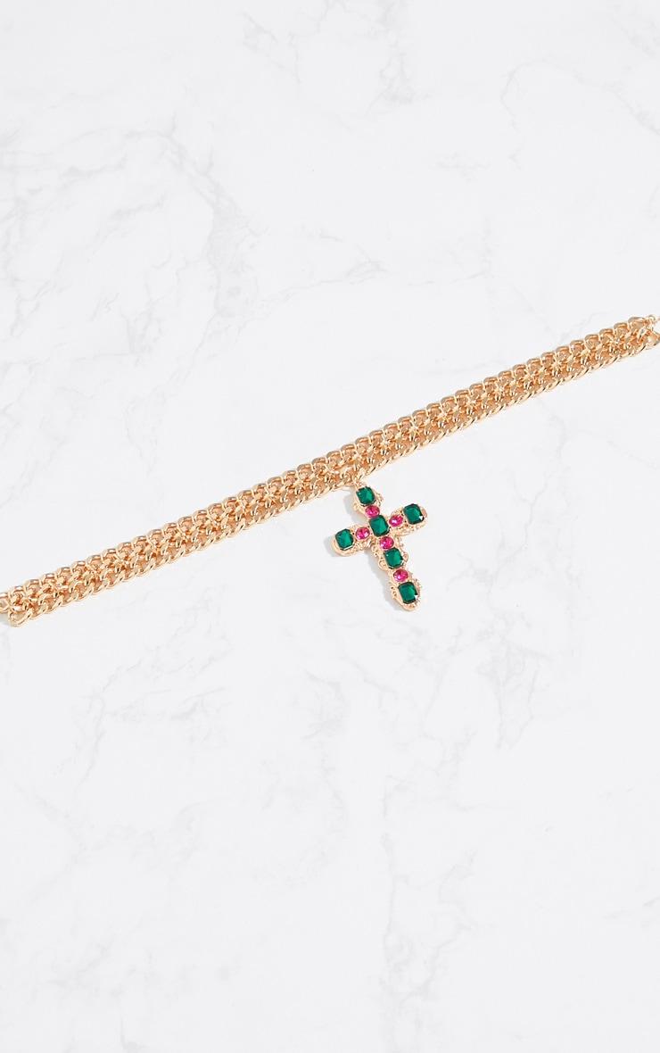 Gold Chunky Chain Green Pink Diamante Cross Choker 3
