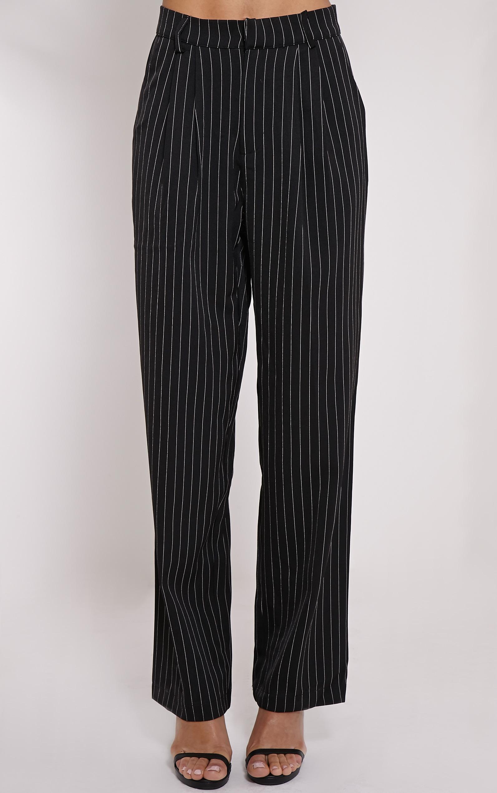 Adalyn Black Pinstripe Wide Leg Trousers 2