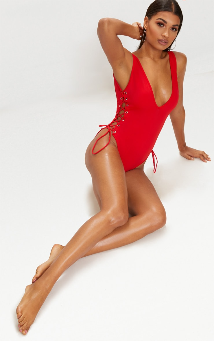 Red Tie Side Plunge Swimsuit  1