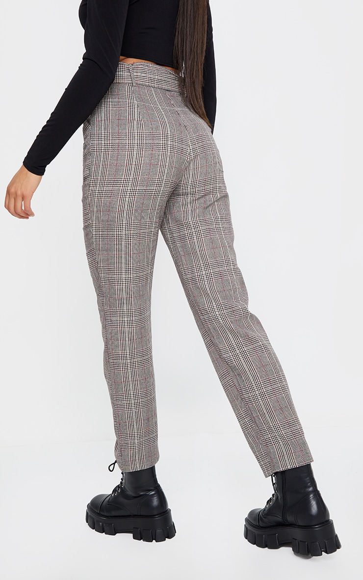 Brown Woven Check Belted Cigarette Pants 3