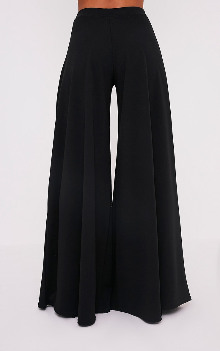 Sidney Black Extreme Wide Leg Crepe Trousers 4