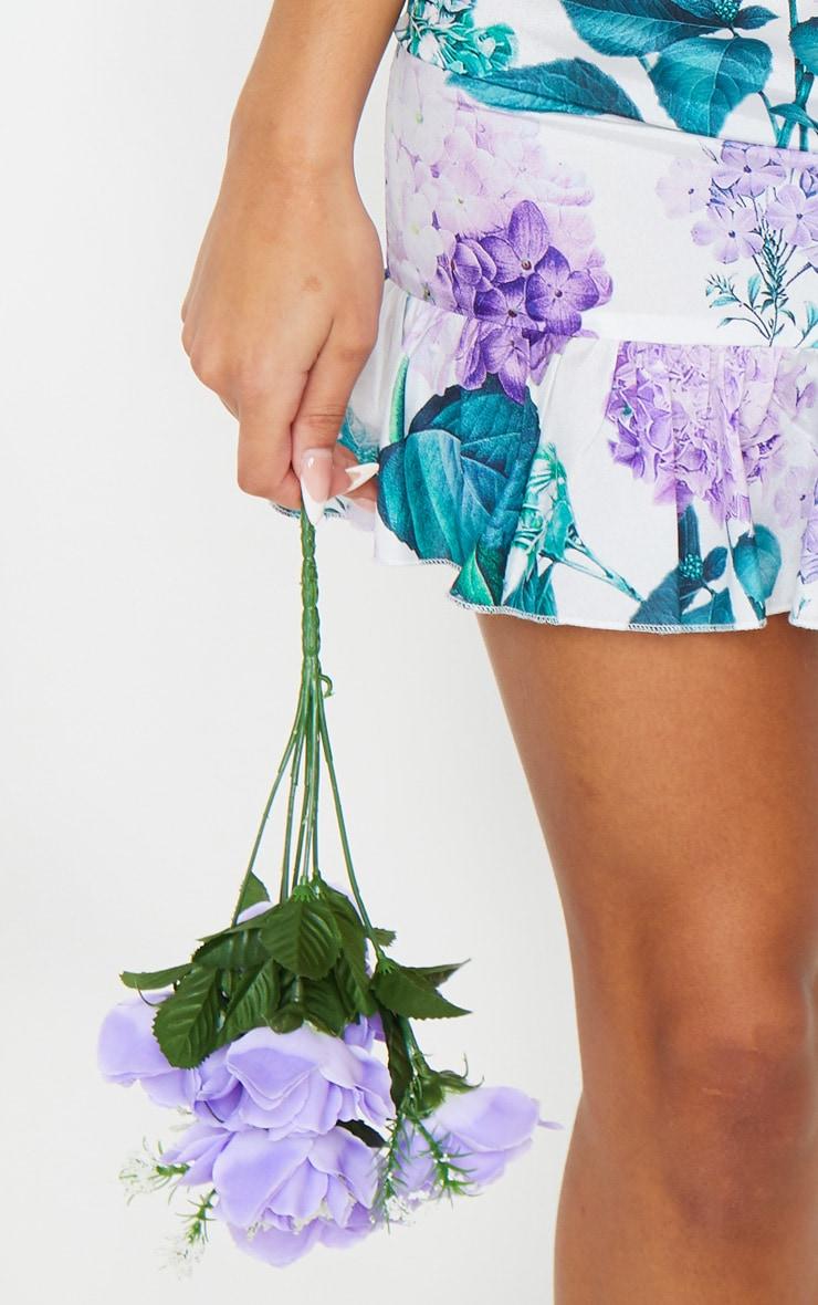 White Ditsy Floral Ruffle Detail Tea Dress 4
