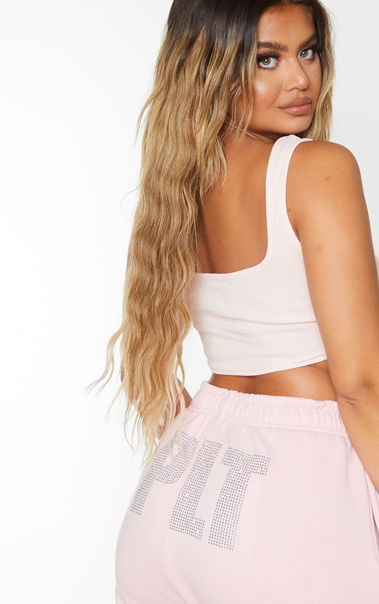 Nude Structured Rib Square Neck Crop Top 2