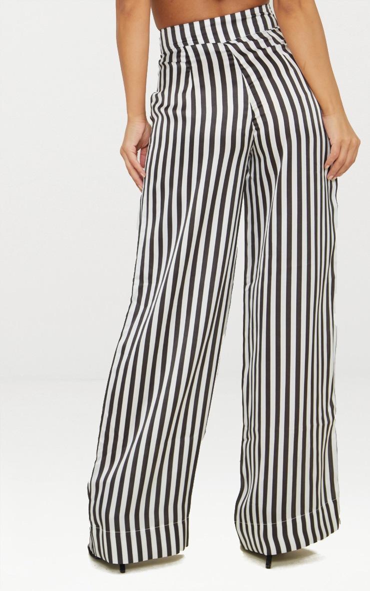 Petite White Striped Satin Wide Leg Trousers 4