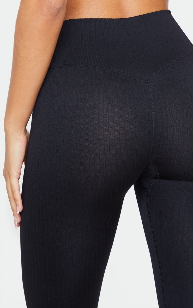 Black Ribbed Seamless Sports Legging 5