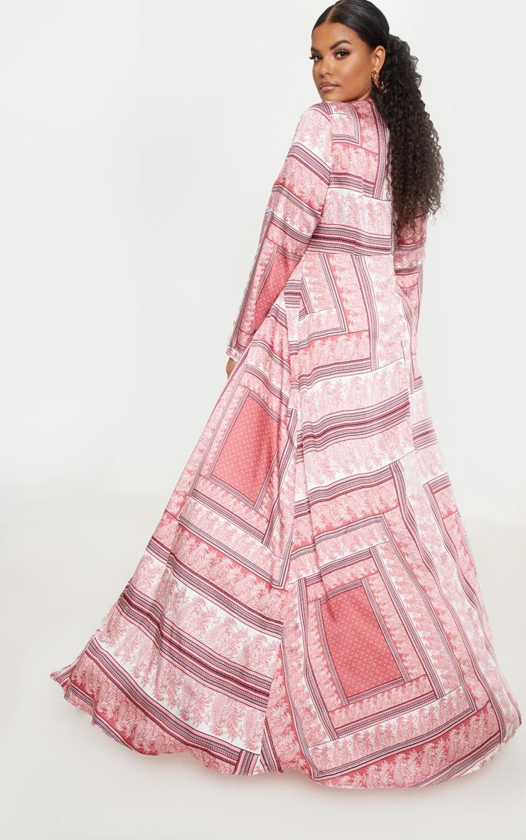 Plus Pink Scarf Print Twist Front Maxi Dress 2