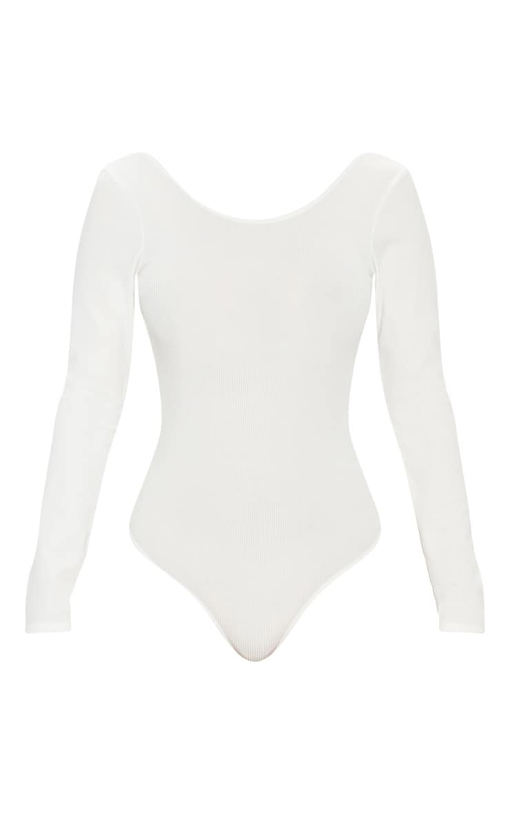 Cream Rib Scoop Back Bodysuit 3
