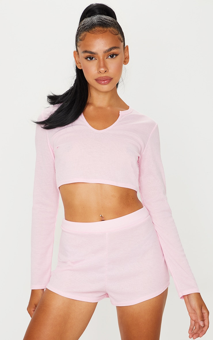 Pink Ribbed Long Sleeve Top And Shorts Pj Set 3