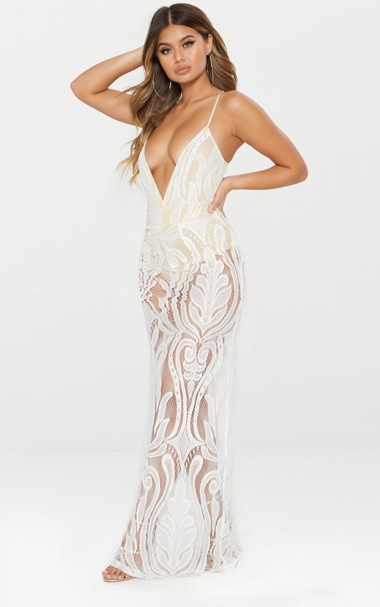 White Lace Strappy Plunge Maxi Dress 3