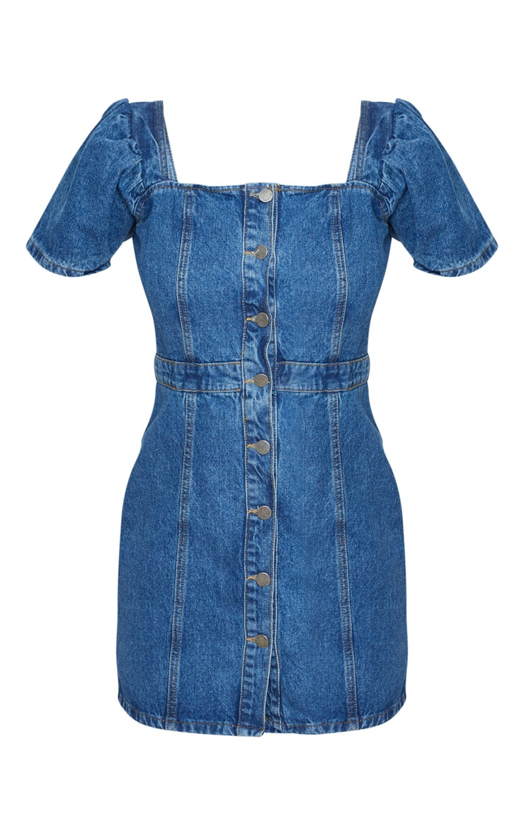 Mid Blue Wash Button Through Denim Dress 5