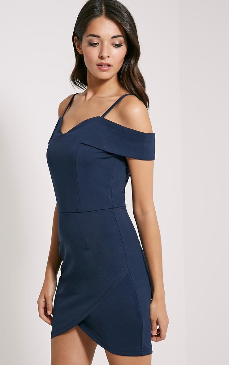 Floretta Navy Bardot Mini Dress 4