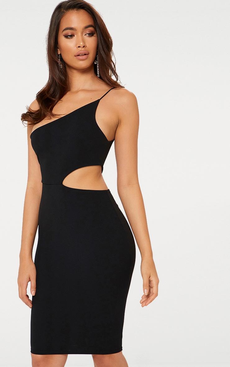 Black One Strap Cut Out Detail Midi Dress 1