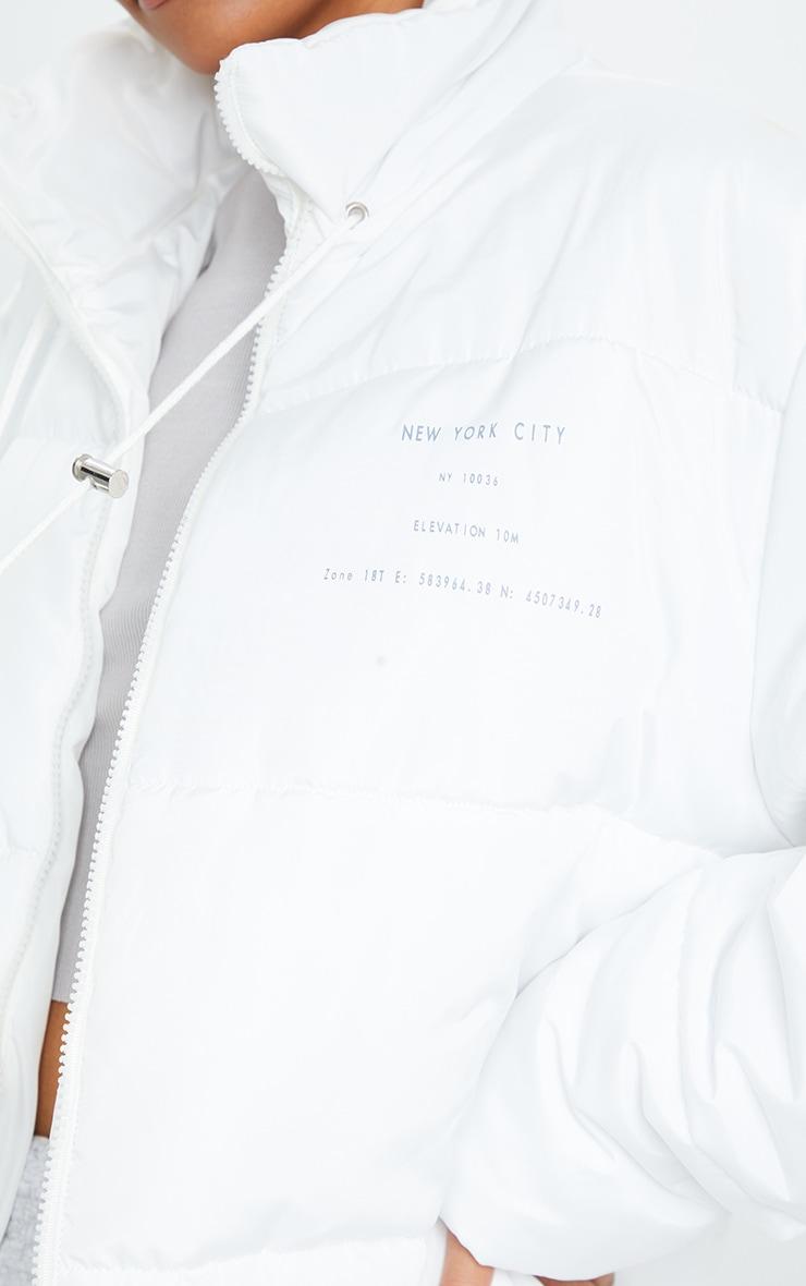 White Slogan Midi Oversized Puffer Coat 4