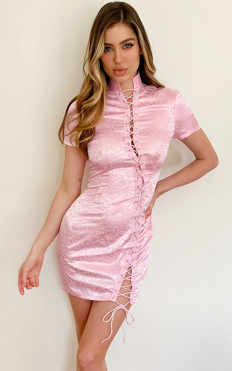 Baby Pink Print Satin Lace Up Short Sleeve Bodycon Dress 1