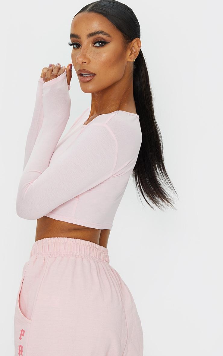 Basic Pink  Jersey Long Sleeve Crop Top 2