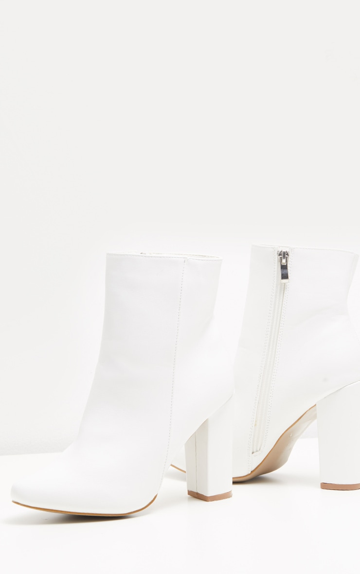 White Faux Leather Ankle Boot 3