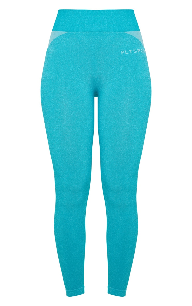 PRETTYLITTLETHING Turquoise Sport Seamless Contour Cropped Leggings 6