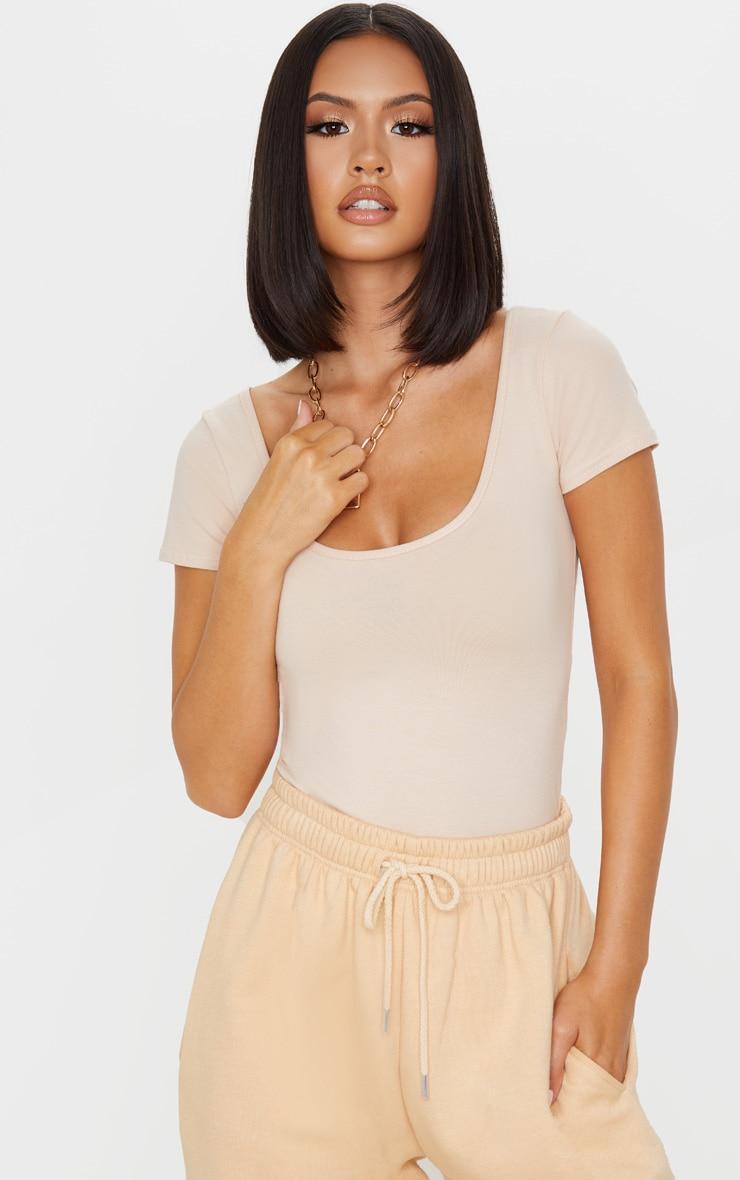 Dusty Nude Cotton Scoop Neck Short Sleeve Bodysuit 1