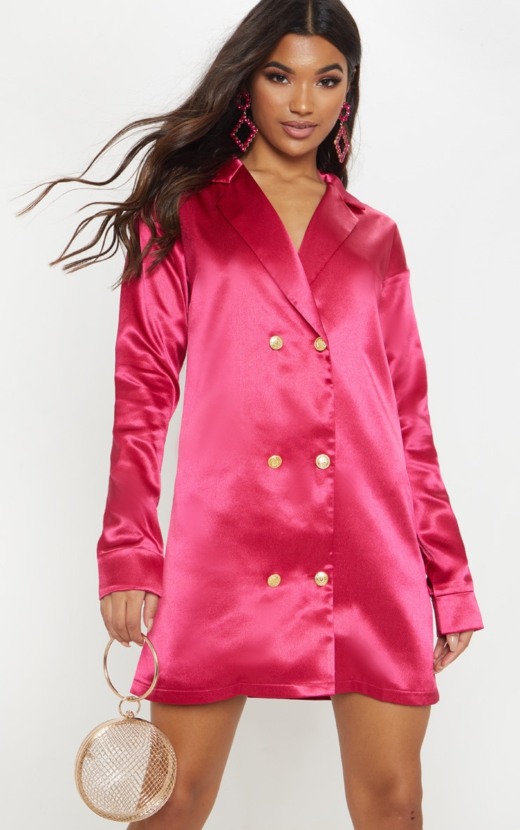 c619b242acdde Fuchsia Satin Button Blazer Dress | Dresses | PrettyLittleThing USA