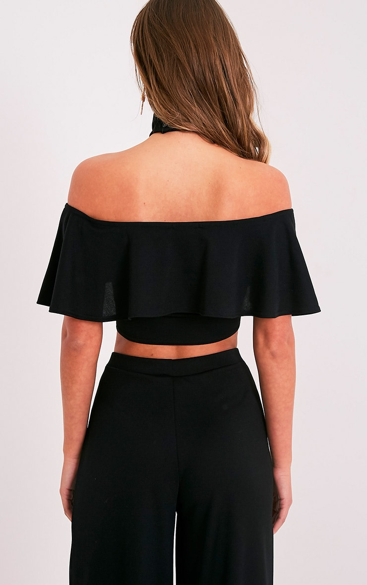 Chanelle Black Bardot Frill Crop Top  2
