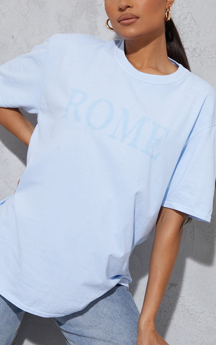 Baby Blue Rome Embroidered Washed T Shirt 4