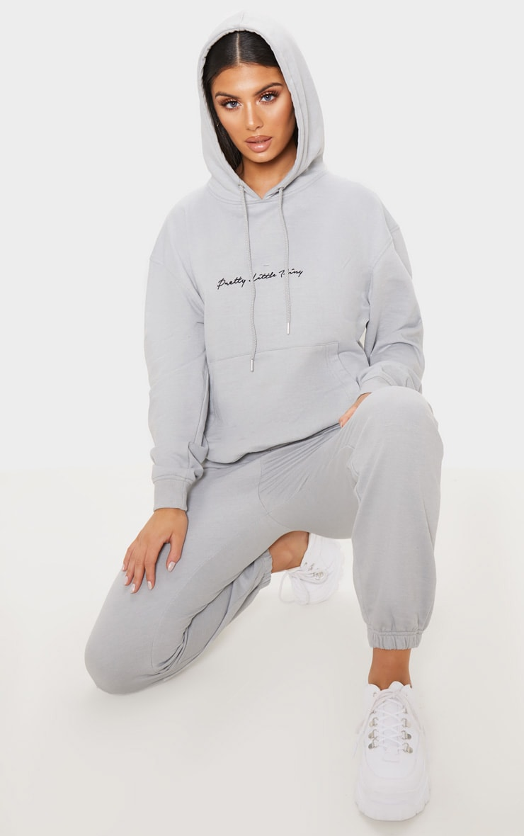 PRETTYLITTLETHING Dove Grey Embroidered Oversized Hoodie 1