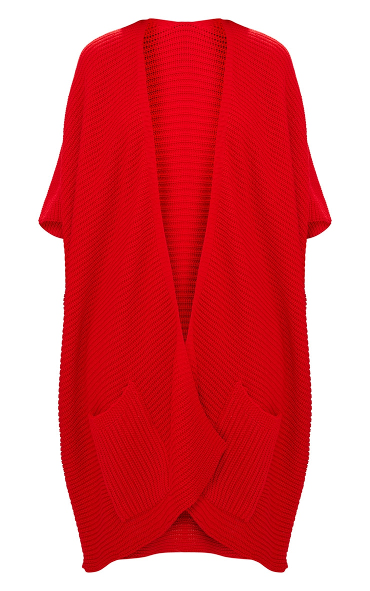 Red Chunky Knit 3/4 Sleeve Wrap Cardigan 3