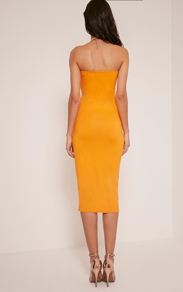 Basic Bright Orange Jersey Bandeau Midi Dress 2