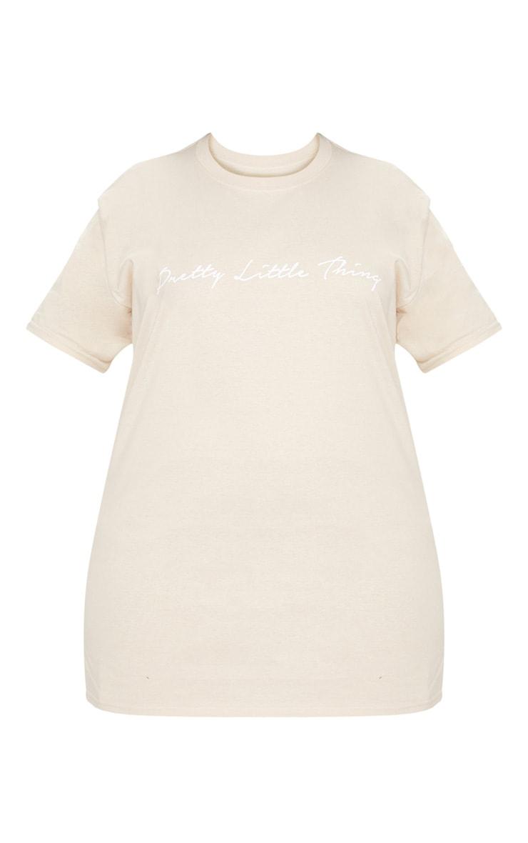 PRETTYLITTLETHING Plus Stone  Slogan T Shirt 2