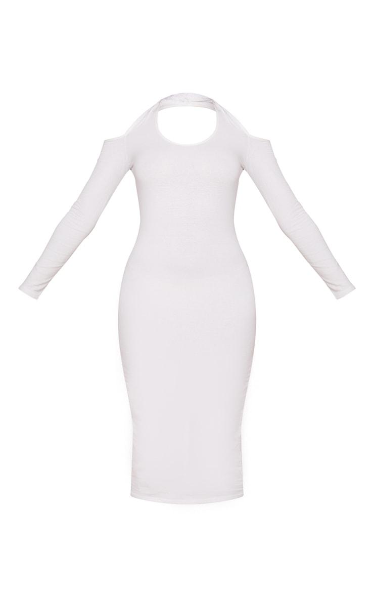 Cream Cotton Halterneck Cold Shoulder Long Sleeve Midaxi Dress 5