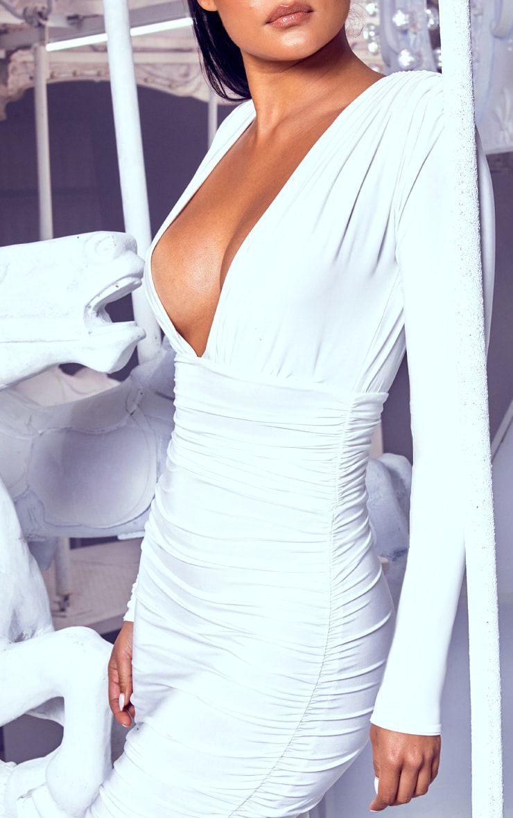 White Ruched Plunge Bodycon Dress 5