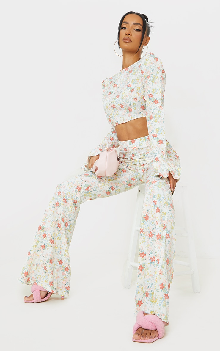 Light Pink Floral Printed Woven High Waisted Flared Trousers 1