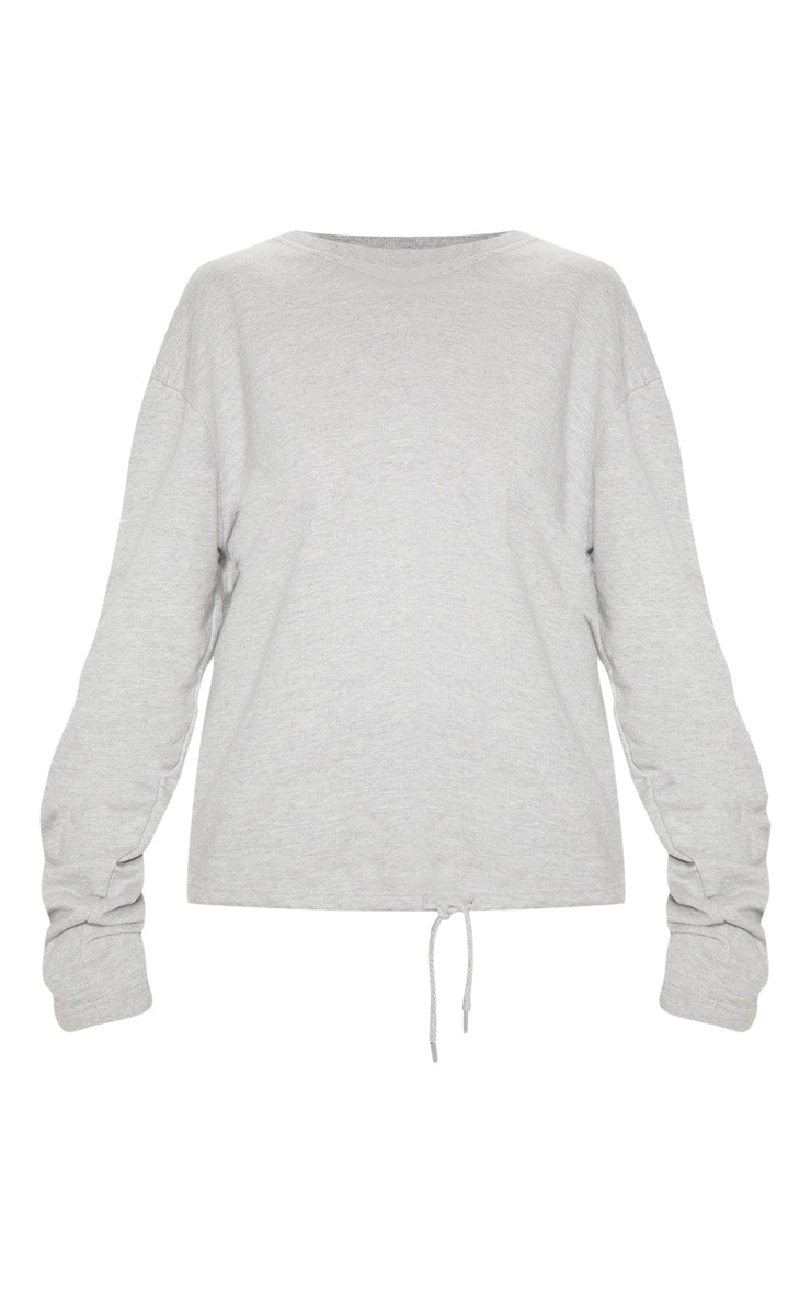 Grey Ruched Sleeve Oversized Sweater 3
