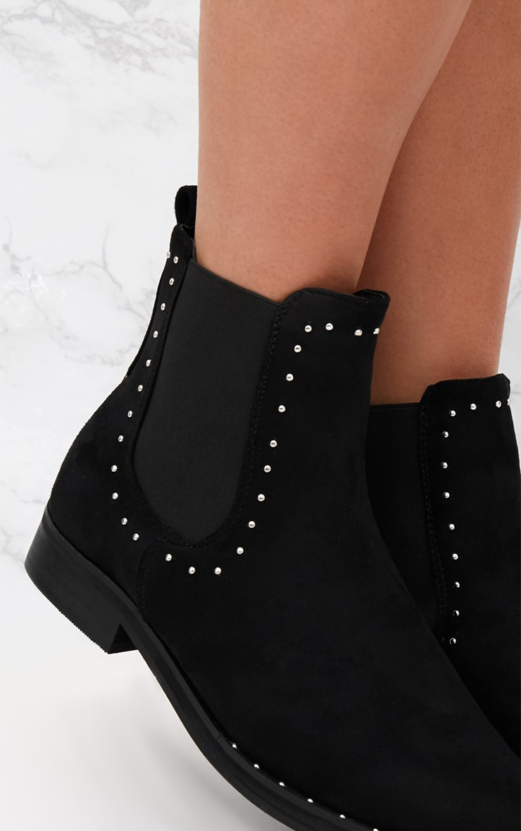 Black Faux Suede Studded Chelsea Boot  4