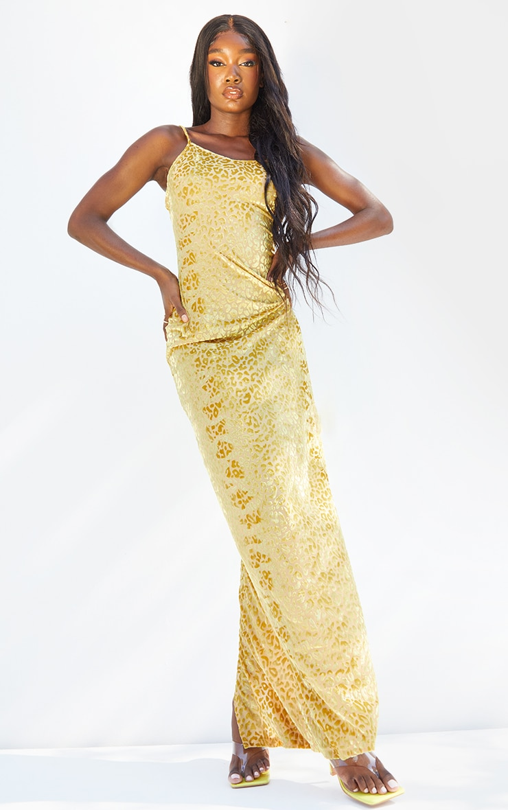 Tall Yellow Burnt Out Strappy Maxi 1