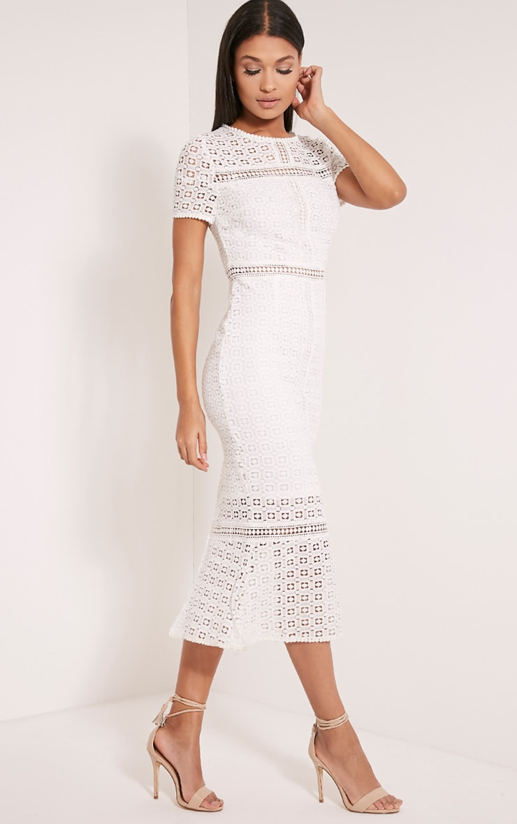 Midira White Crochet Lace Midi Dress 4