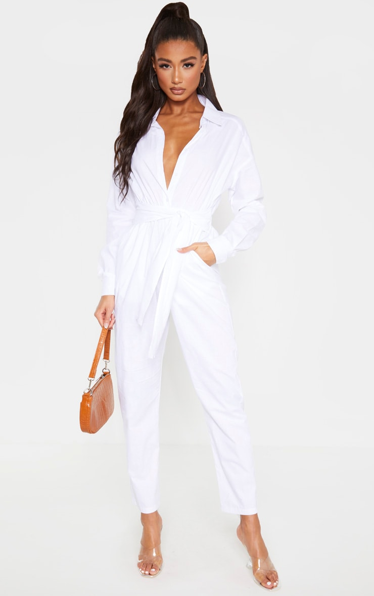 White Tie Waist Shirt Jumpsuit 1