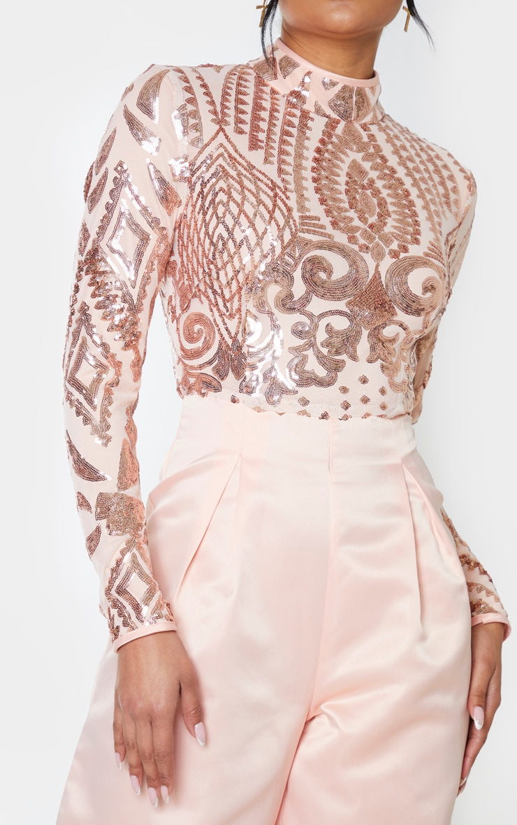Rose Gold Sequin Bodice Long Sleeve Satin Jumpsuit 4