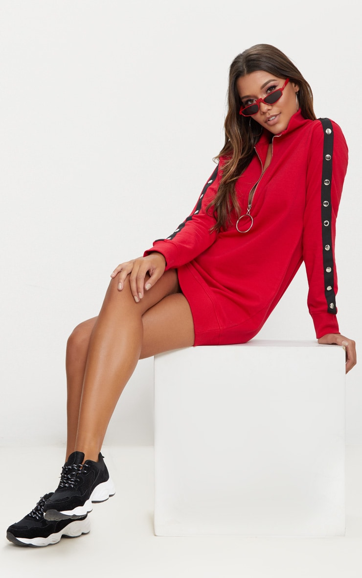 Red O Ring Contrast Popper Jumper Dress 1