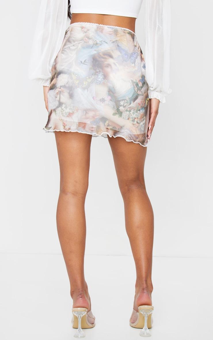 Nude Butterfly Print Mesh Lettuce Hem Skirt 3