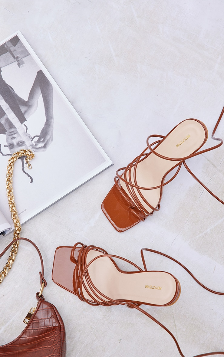 Tan Wide Fit Patent Lace Up Block High Heels 3