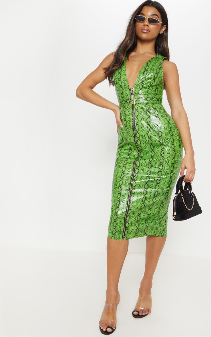 Lime Patent Snake Faux Leather Plunge Midi Dress