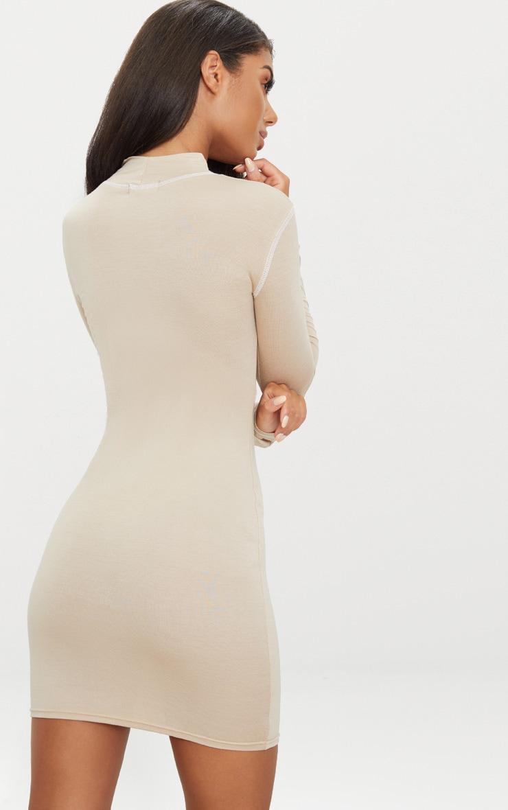 Stone Contrast Stitching Long Sleeve Bodycon Dress 2