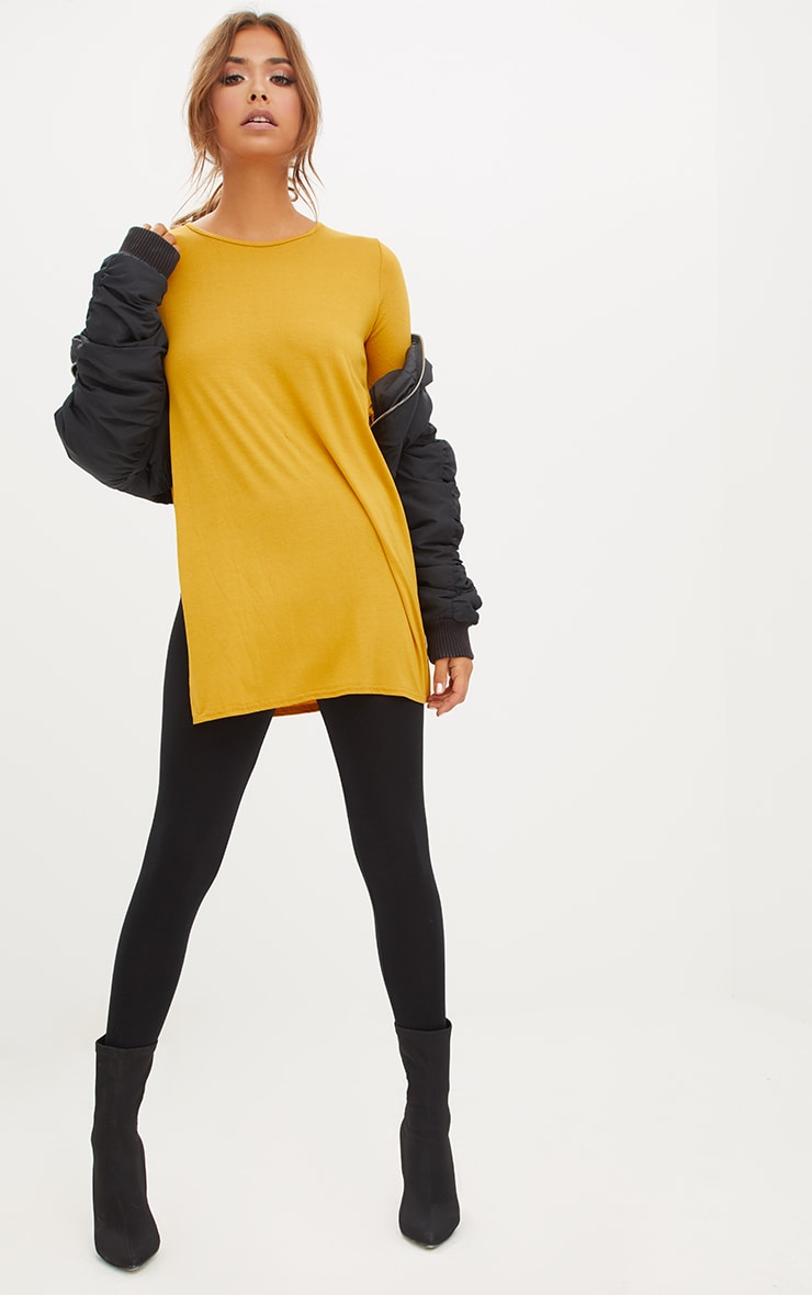 Basic Mustard Longsleeve Side Split Top 4