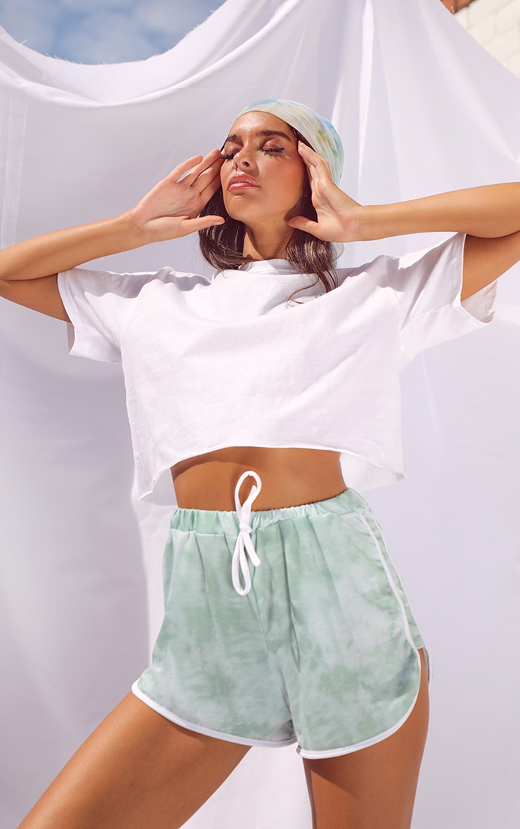 Sage Tie Dye Double Side Stripe Runner Shorts 4