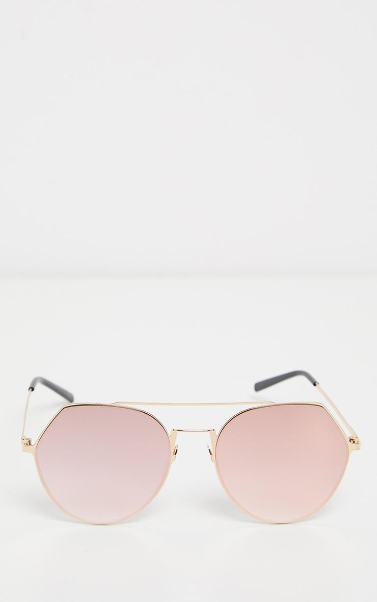 Pink Angled Corner Aviator Sunglasses 3