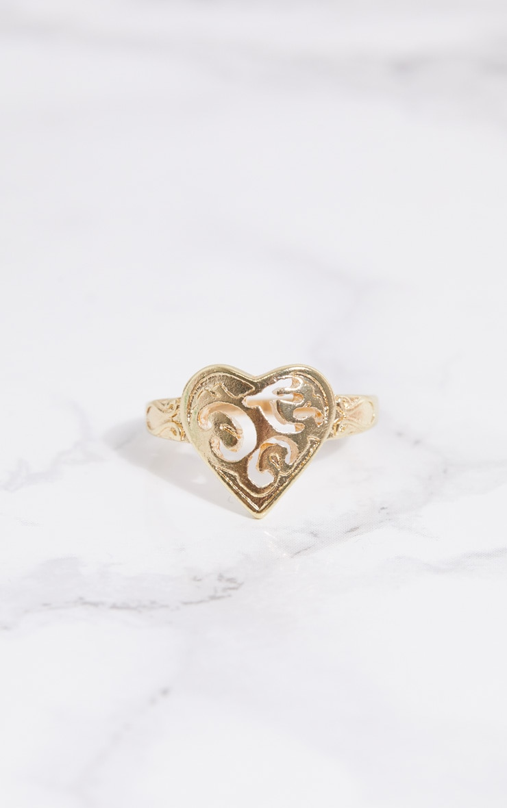 Gold Ornate Heart Ring 1