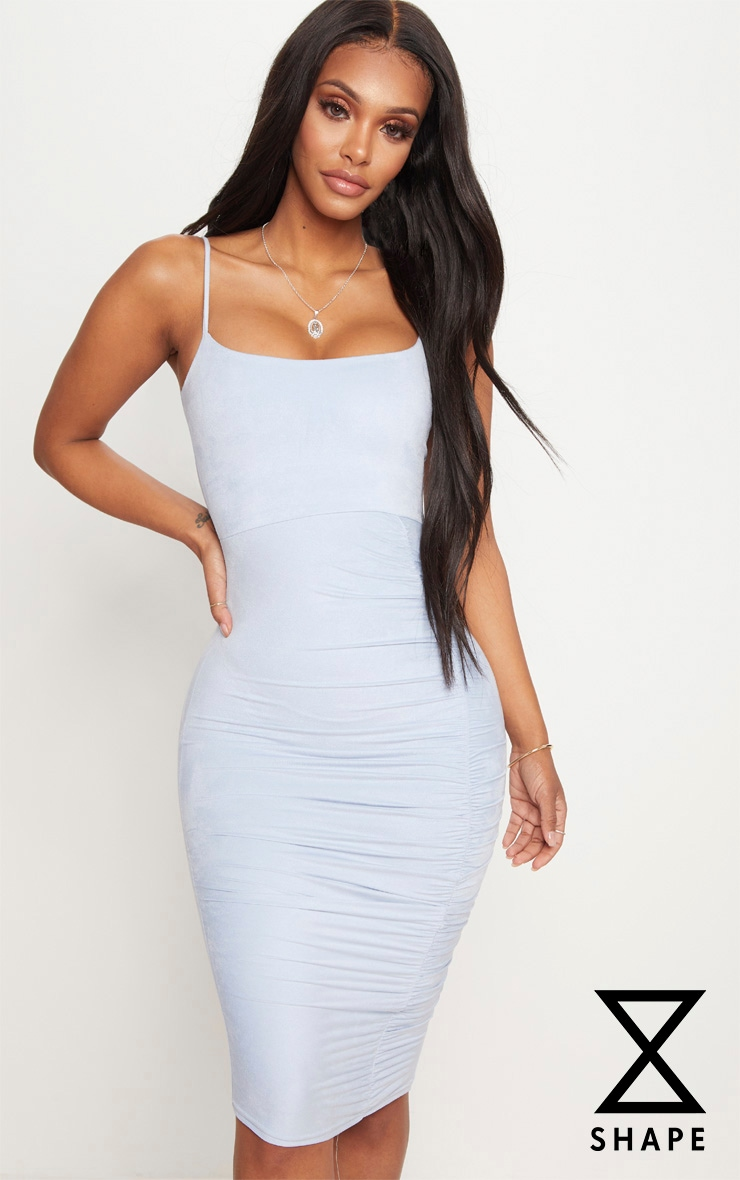 Shape Dusty Blue Faux Suede Ruched Midi Dress 1