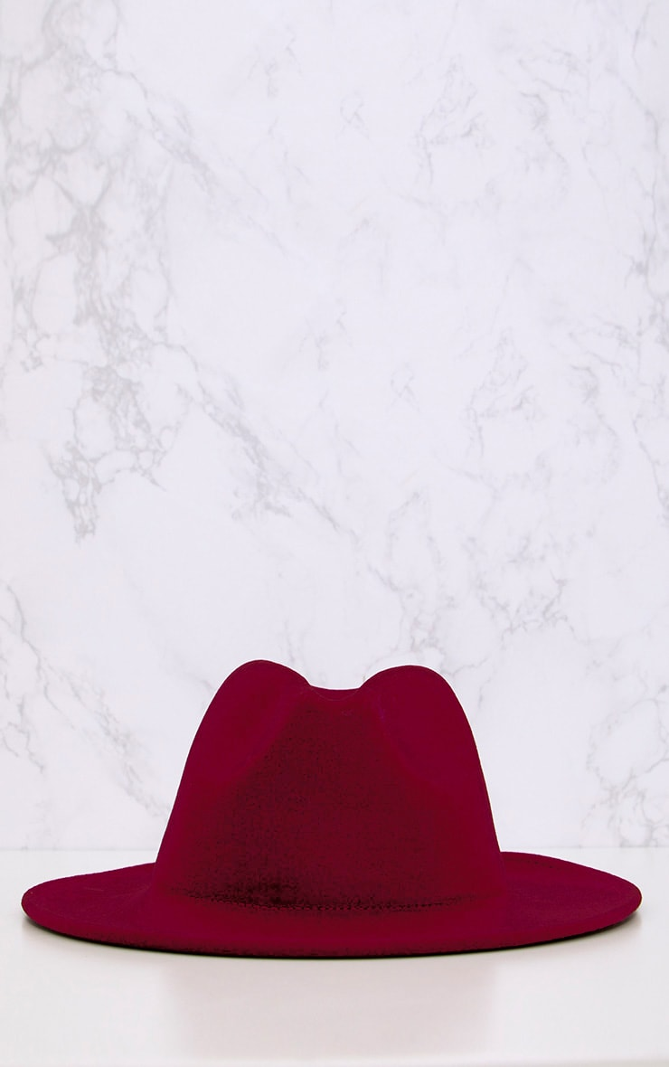 Burgundy Felt Fedora Hat 3